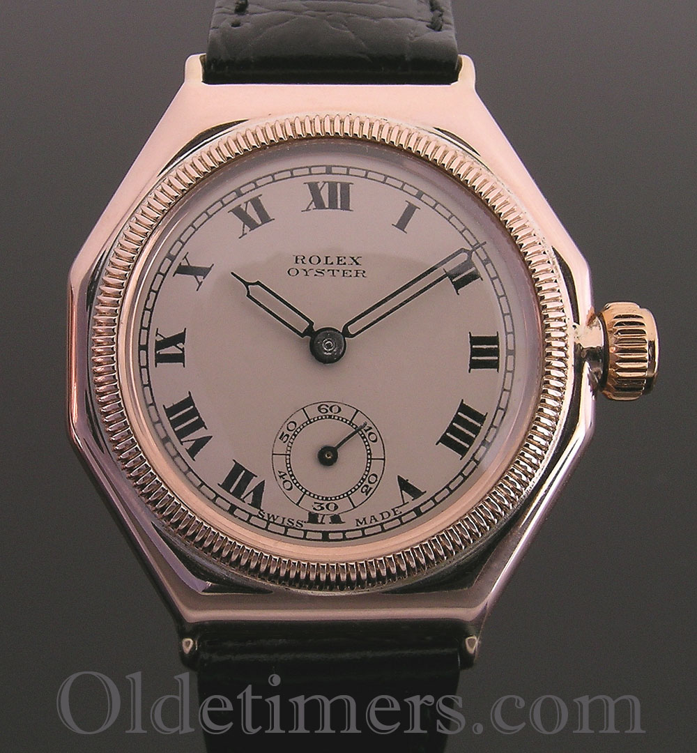 1920s rare early 9ct rose gold vintage rolex oyster watch olde timers for Oyster watches