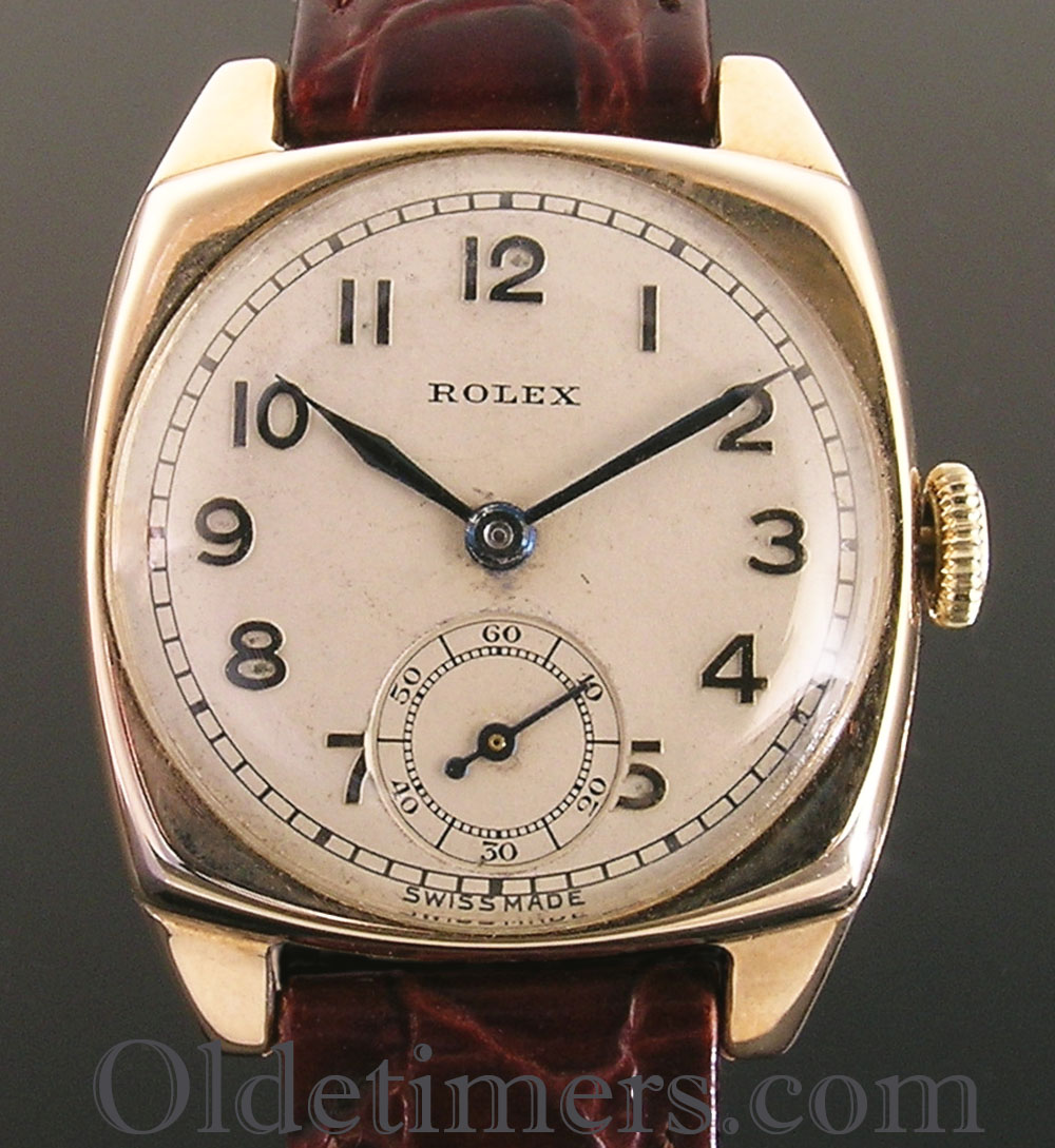 1930 9ct gold cushion vintage rolex watch olde timers