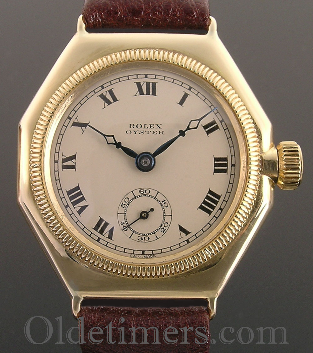 1920s 18ct gold octagonal vintage rolex oyster watch olde timers for Vintage rolex oyster