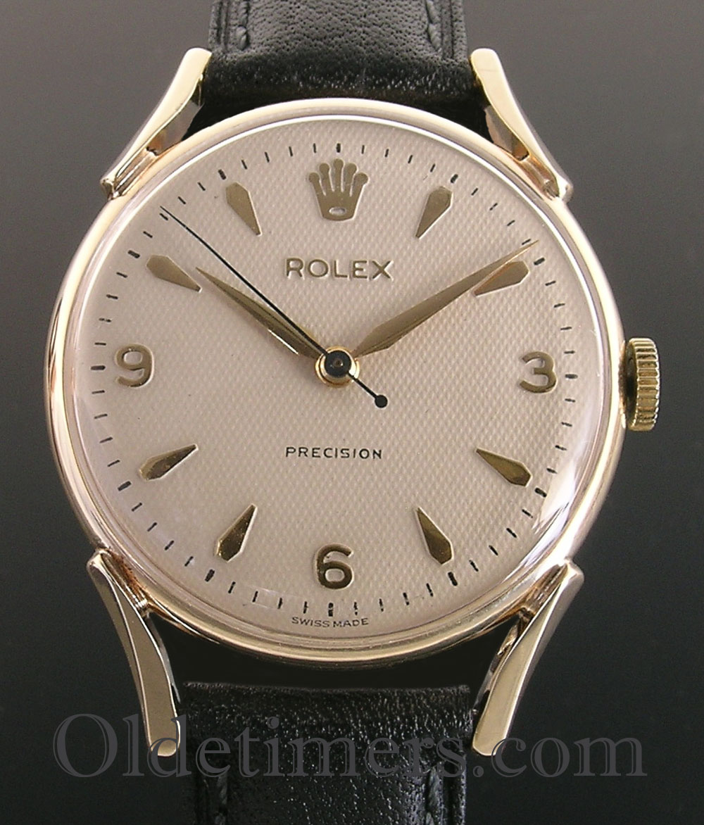 1950s 9ct gold vintage rolex precision watch olde timers